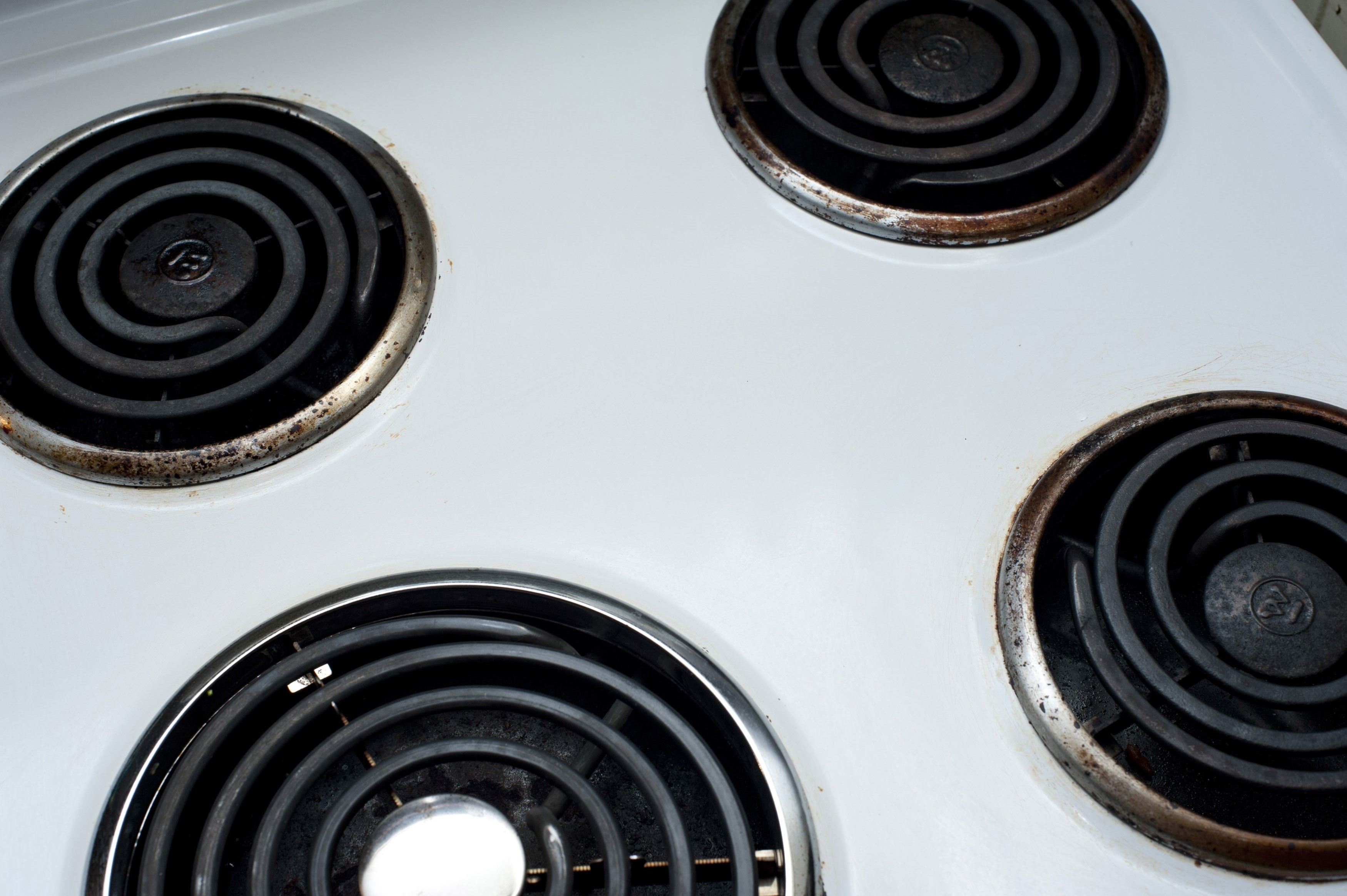 Electrical kitchen appliance - the stove, with a view of the top showing the round spiral heating elements