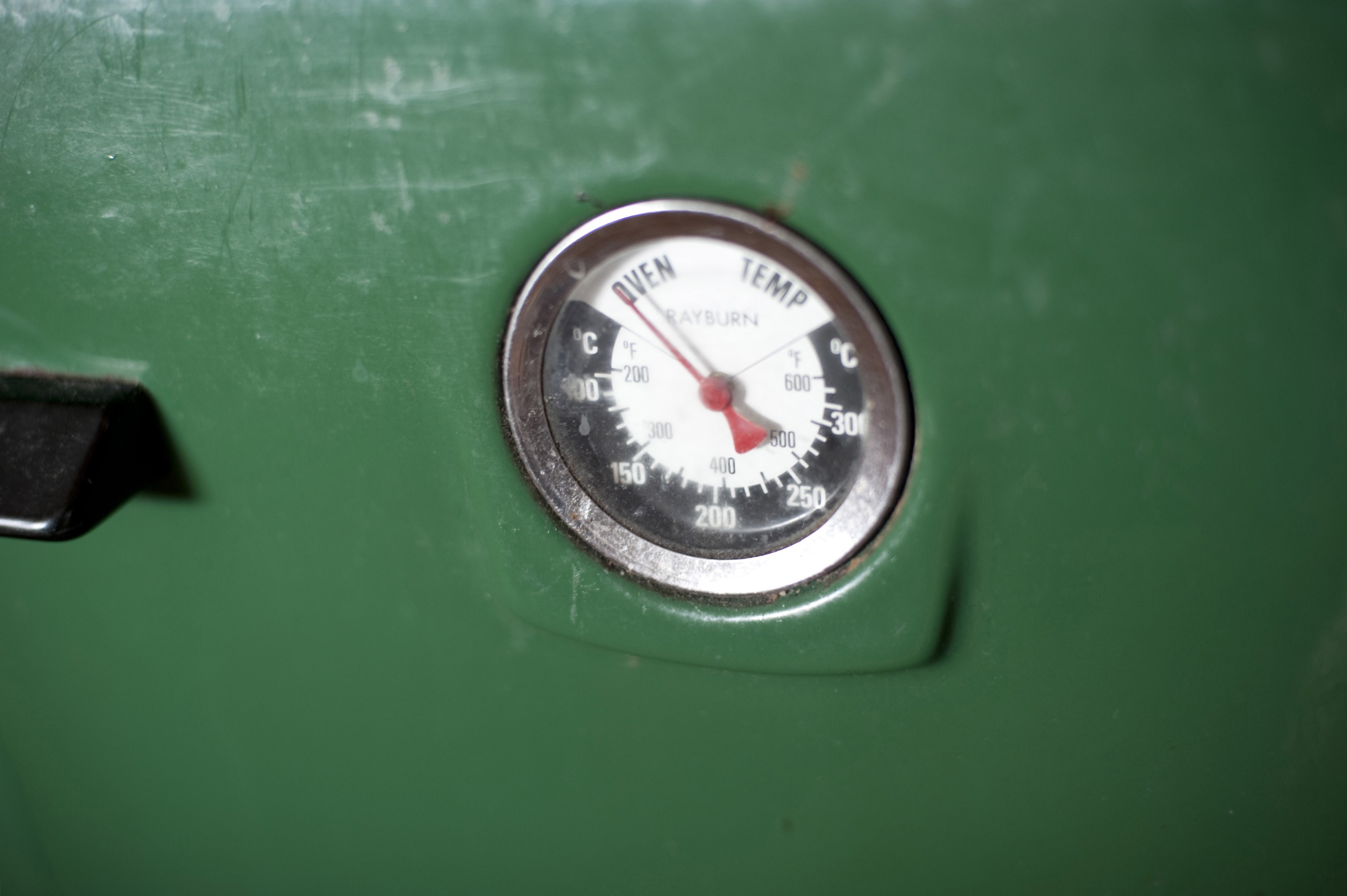 Close up view of a temperature gauge on a Rayburn wood burning oven