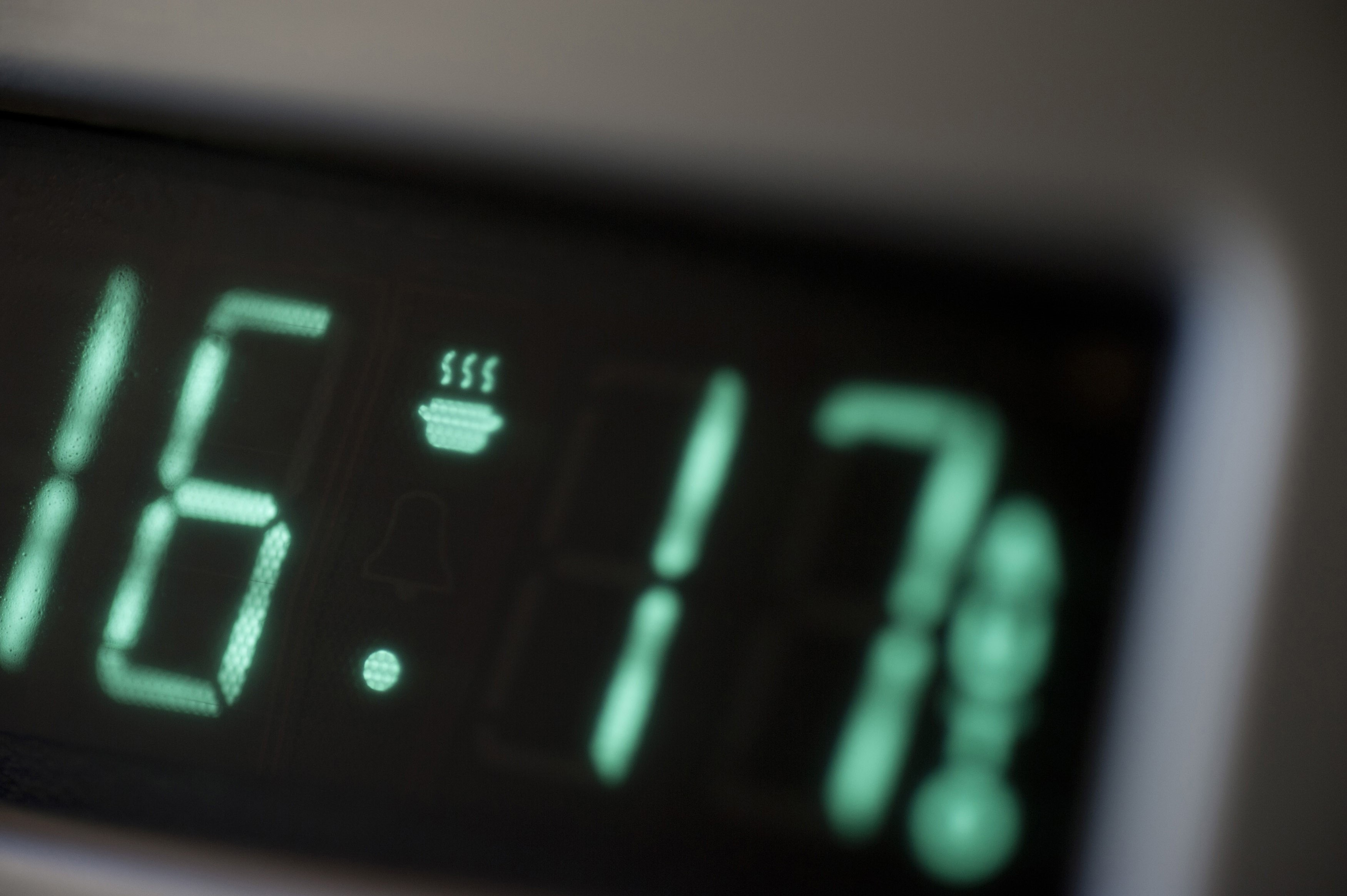 Close up view of the digital readout and display on the timer on an electric oven