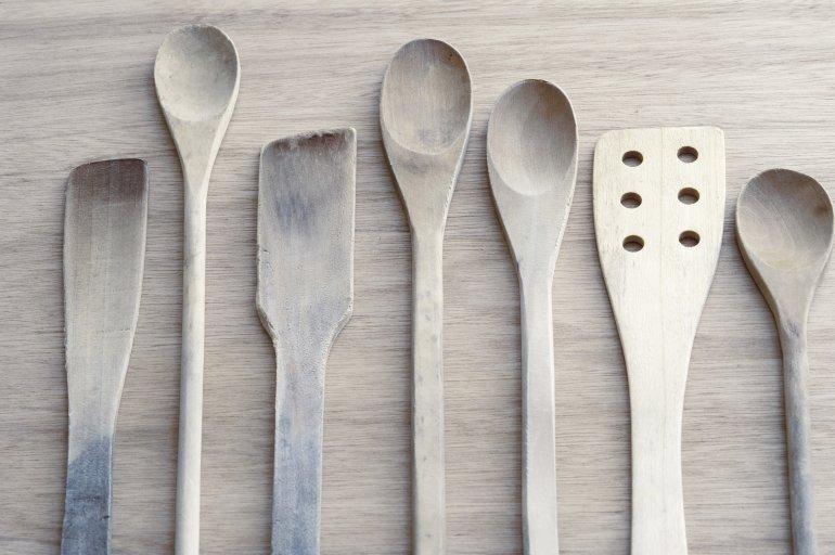wooden kitchen utensils set Toned Grey Neutral Set Of Wooden Kitchen Utensils Free