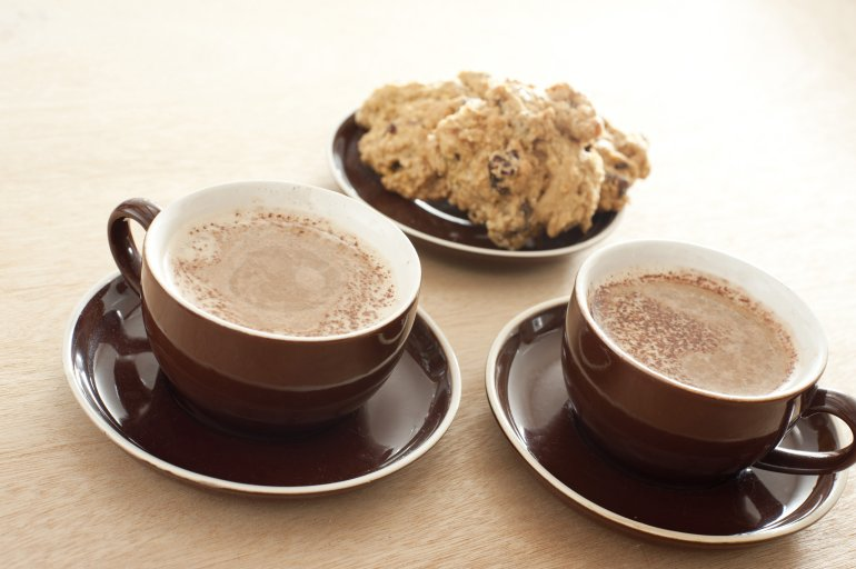 Two Cups Of Coffee With Cake Free Stock Image