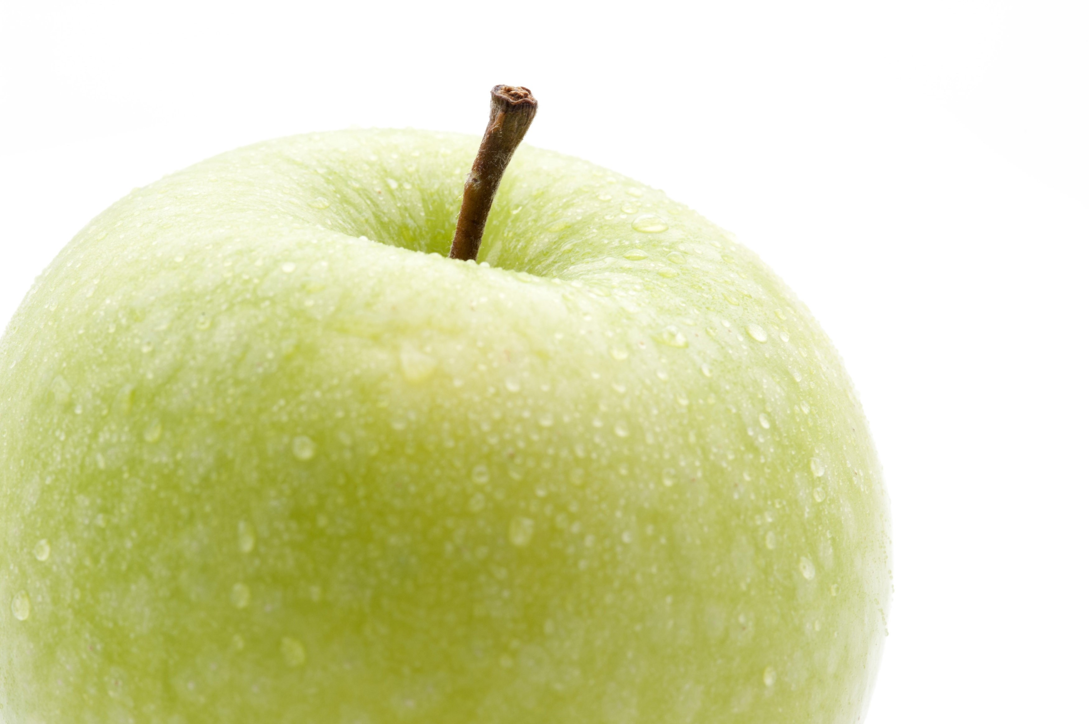 Closeup of a crisp healthy fresh green apple with water droplets and a stalk isolated on white