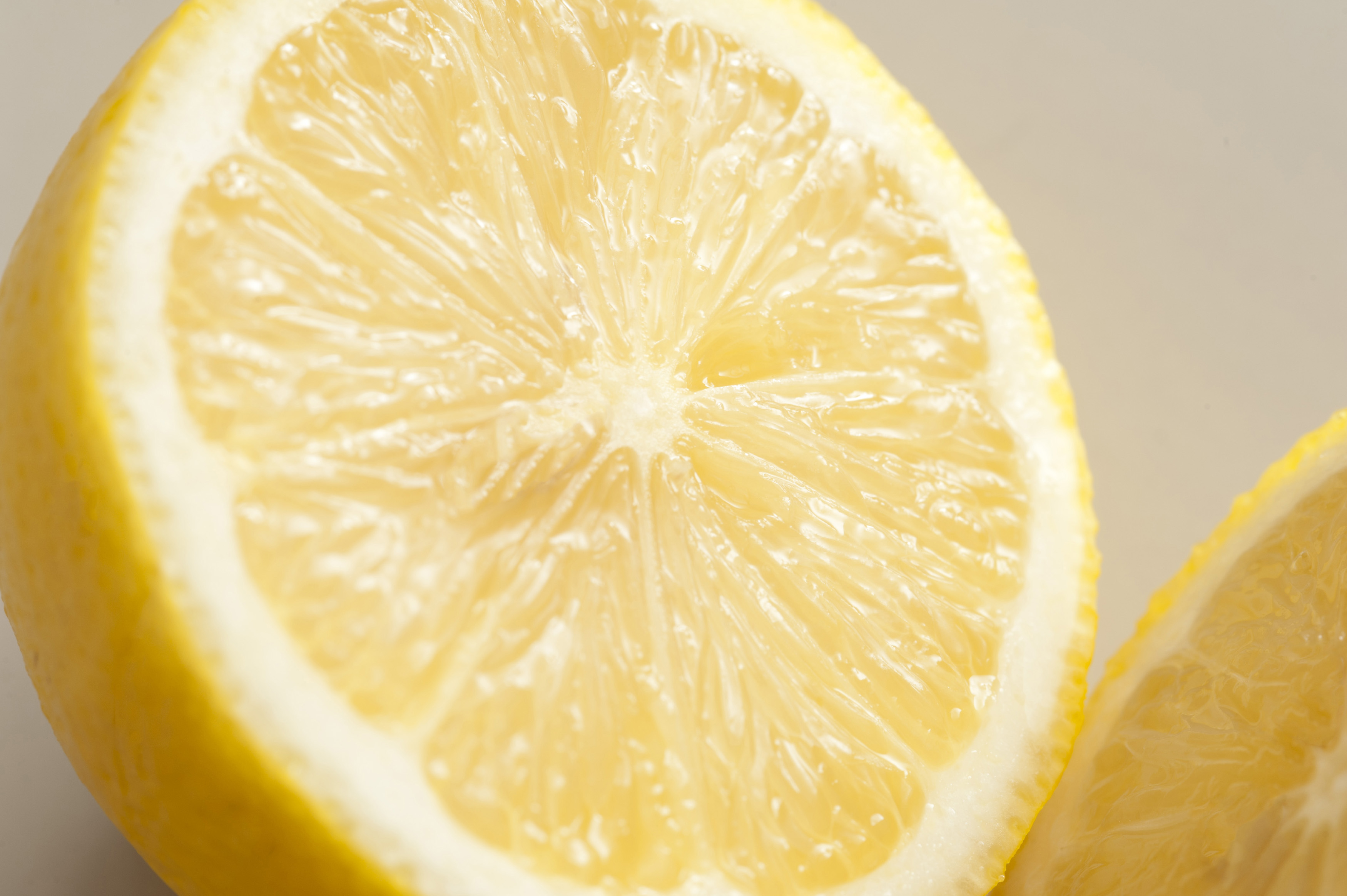Close-up of half of lemon. Macro