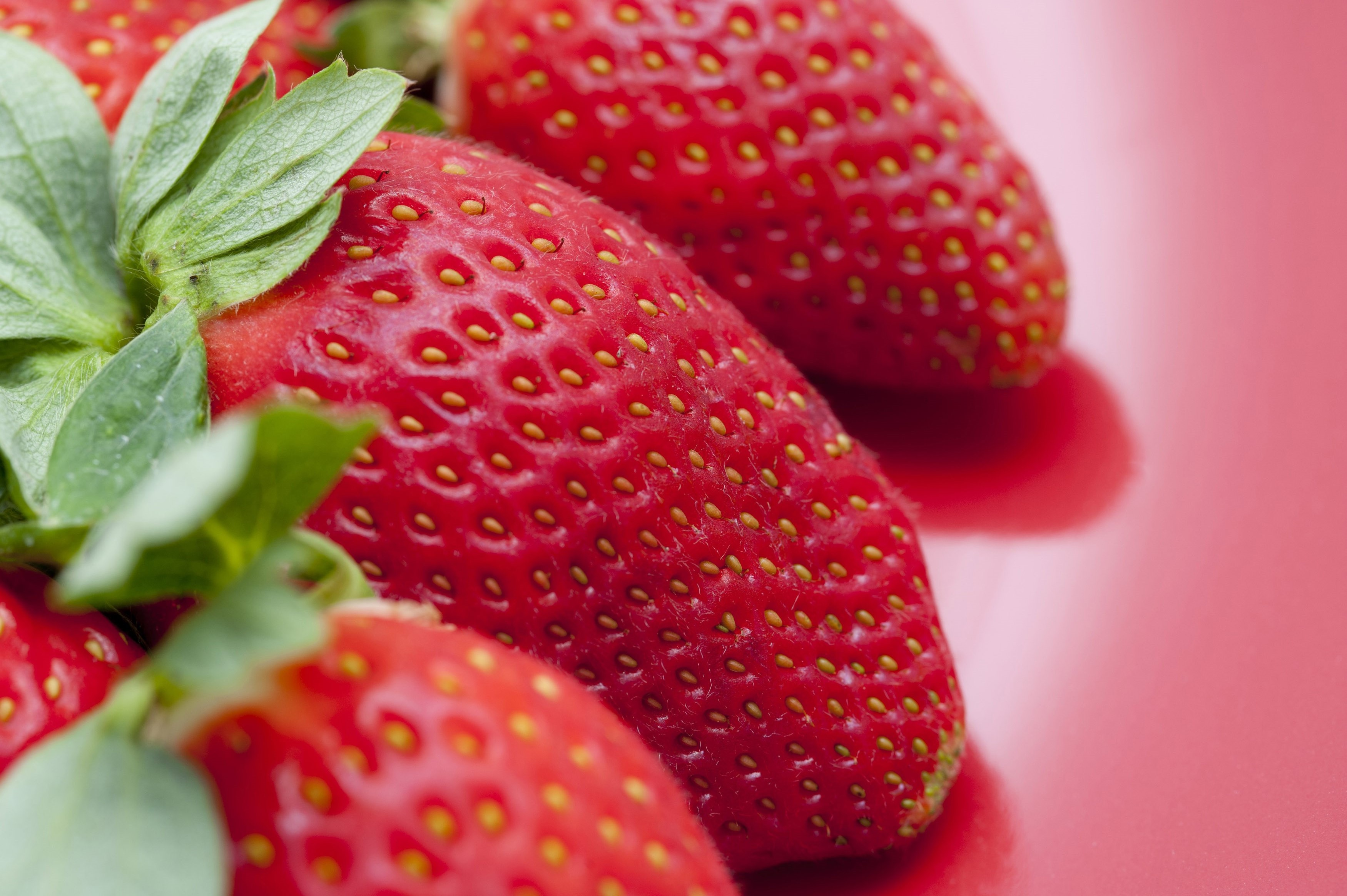 Close-up of tasty fresh strawberries with green leaves, on red background