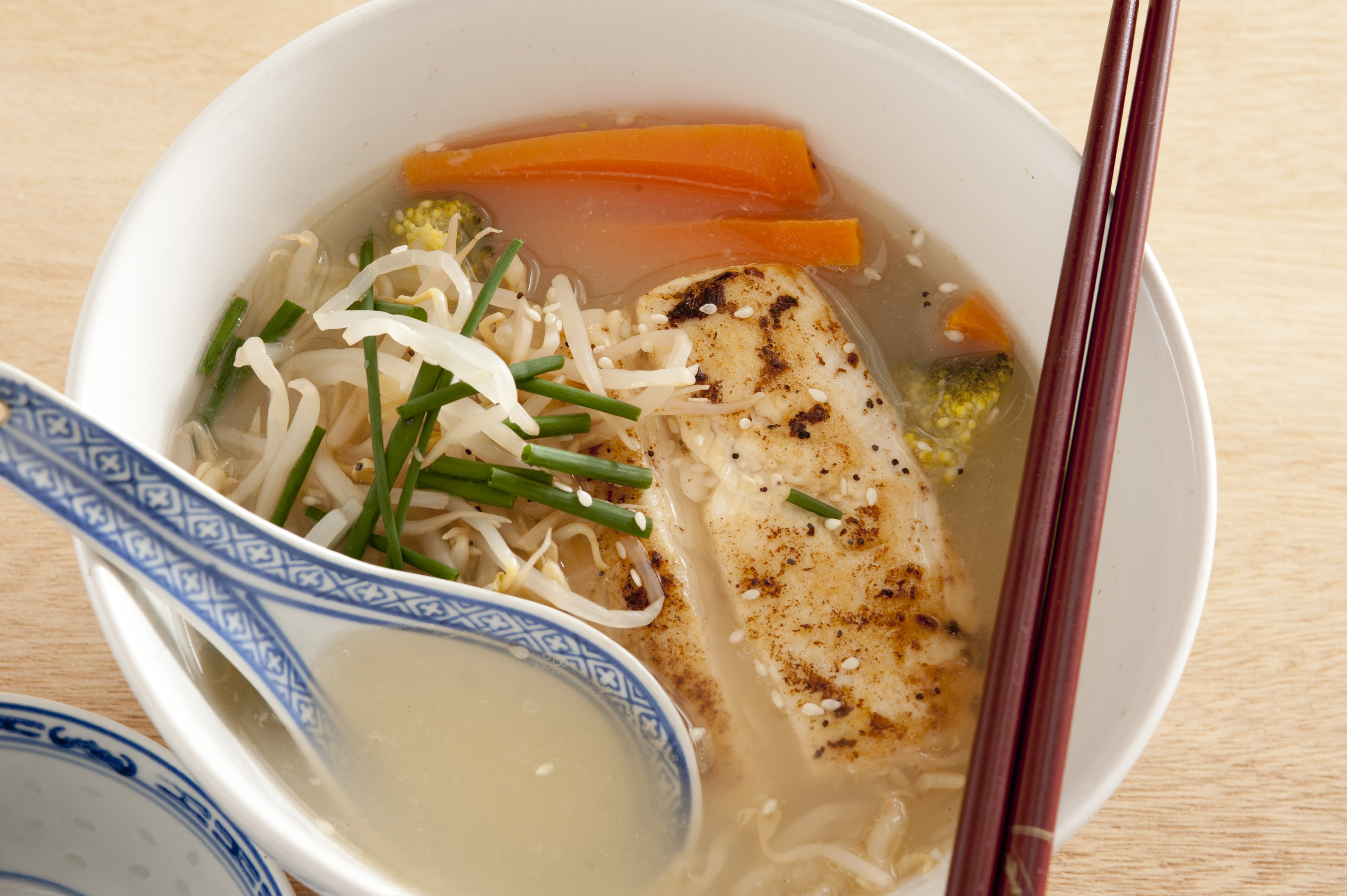 asian style thai fish noodle soup