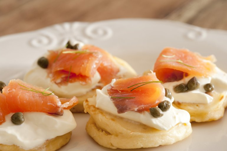 Salmon blini free stock image for Cream cheese canape