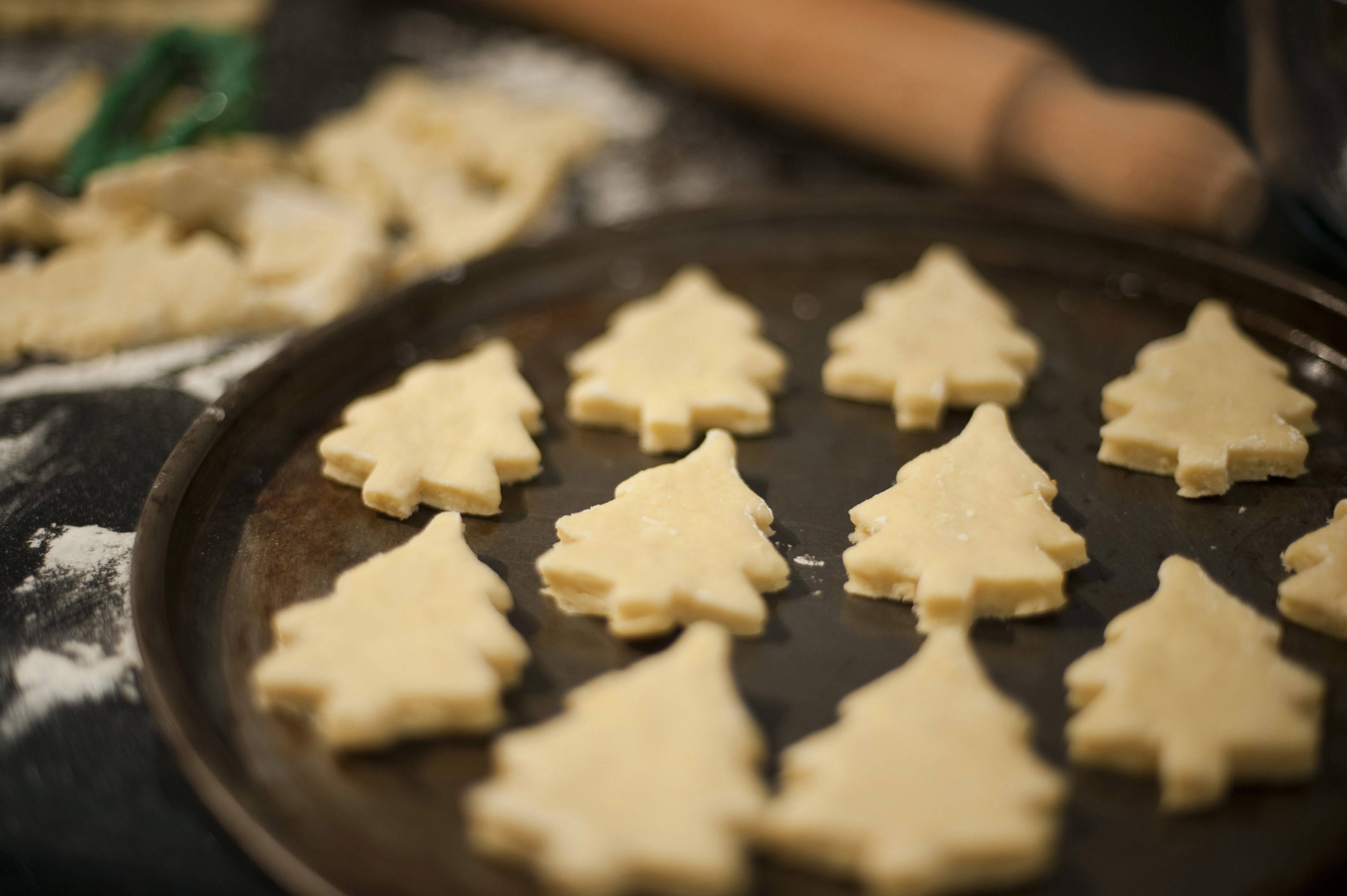 Metal baking tray arranged with homemade pastry in the shape of Christmas tree cookies during the preparation and baking of the delicious traditional biscuits