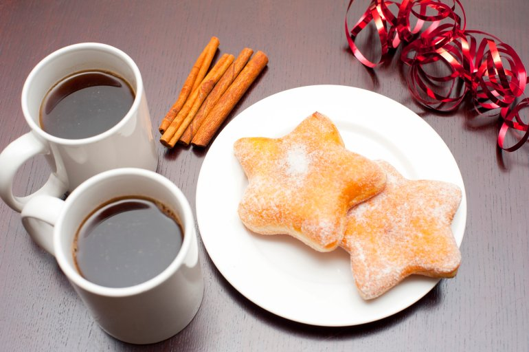 coffee with christmas doughnuts free stock image