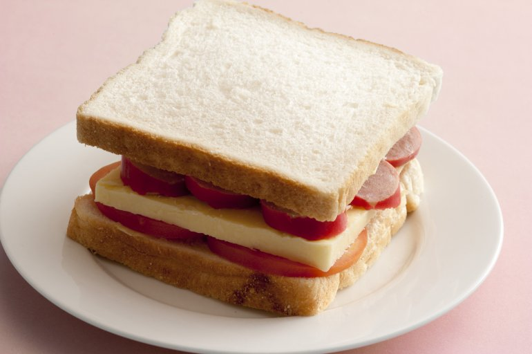 Cheese Pepperoni And Tomato Slice Sandwich Free Stock Image