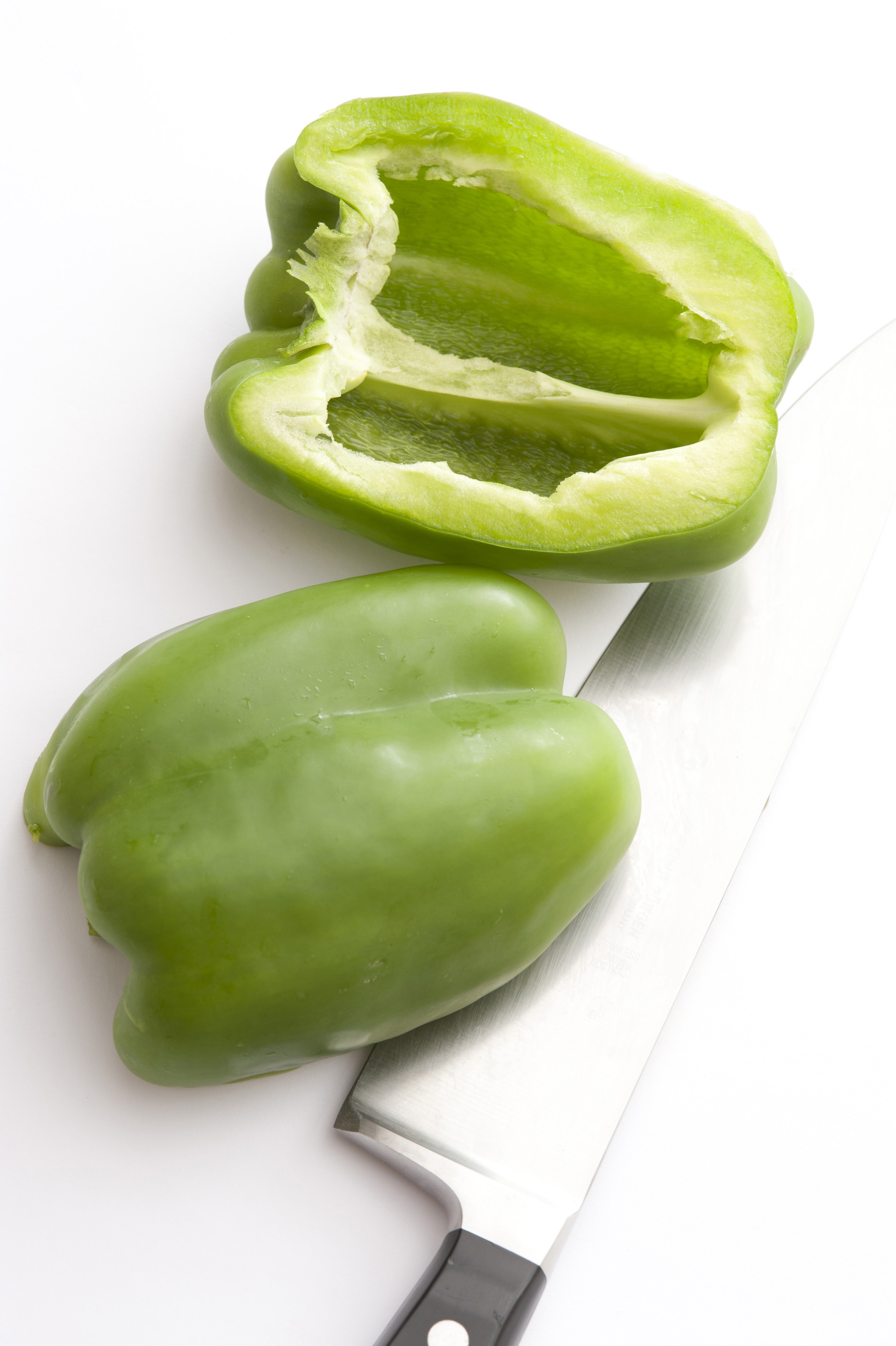 sliced green peppers