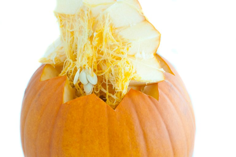 Decoratively Cut Fresh Pumpkin Free Stock Image