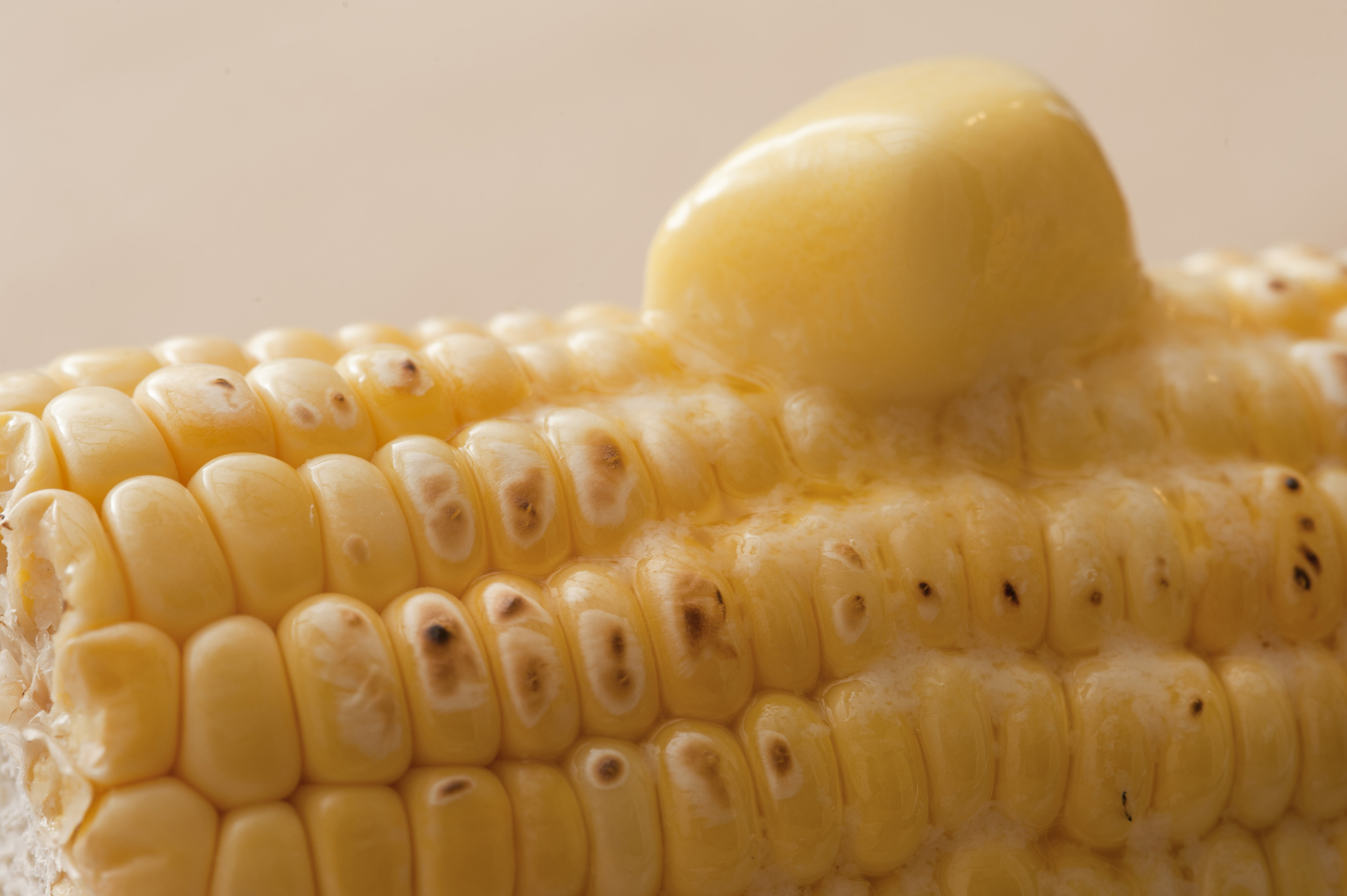 Close-up of corn cob with melting butter on top