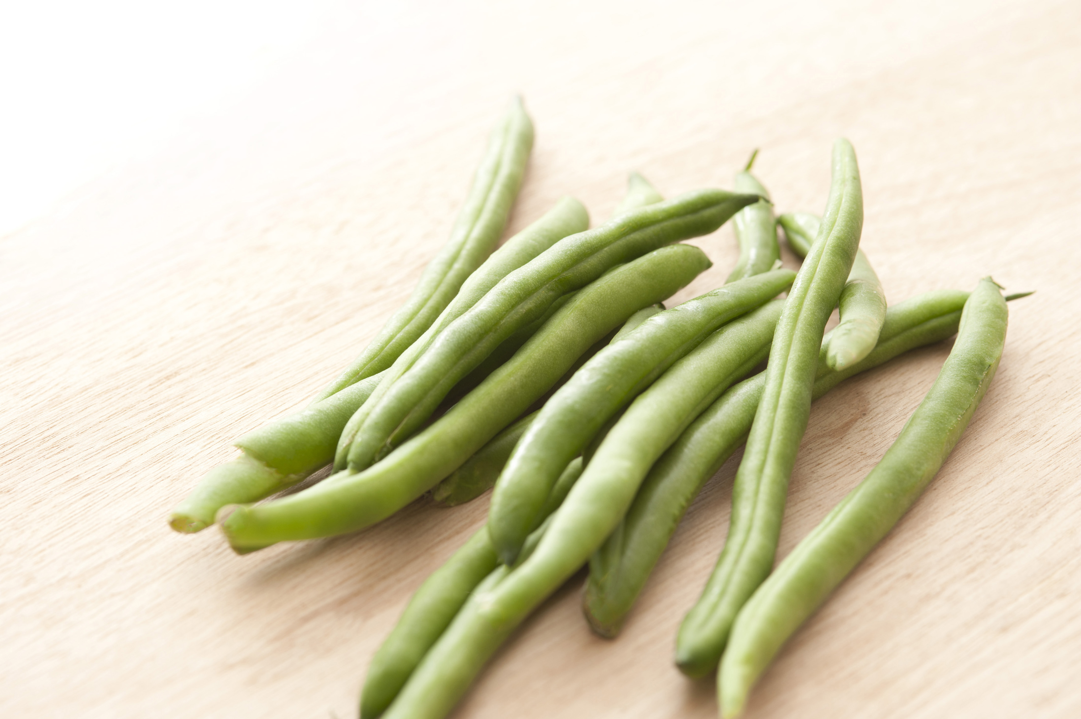 Green Beans On Wooden Table Free Stock Image