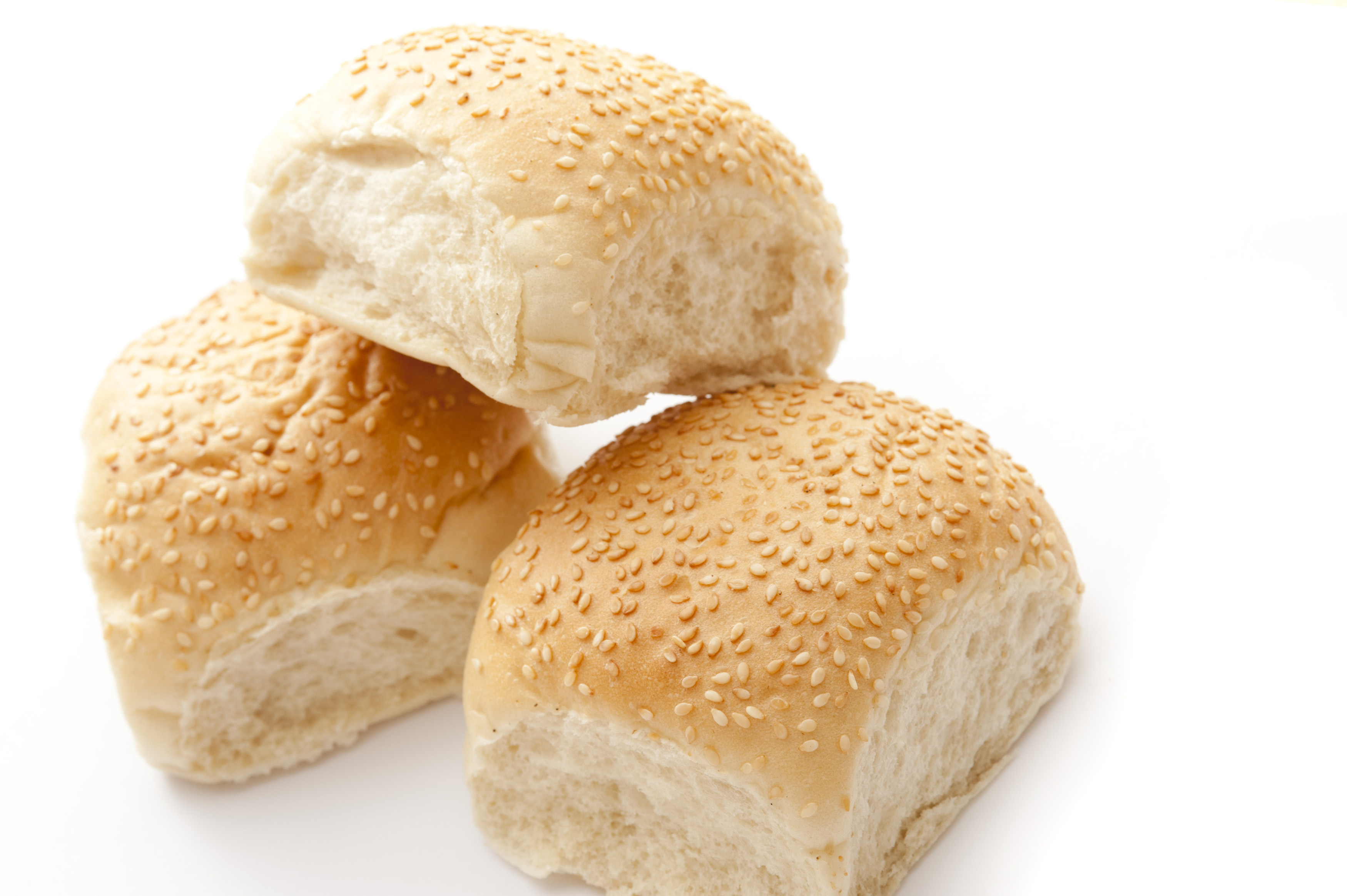 White Sesame Bread Rolls On White Background Free Stock